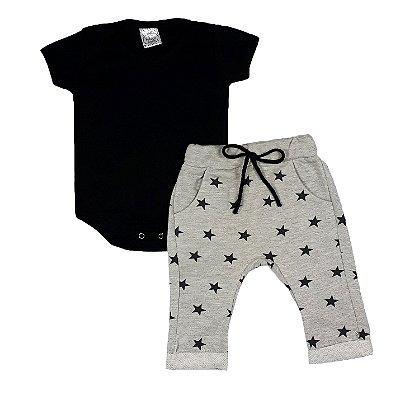 Conjunto Bebê Estrelas Preto