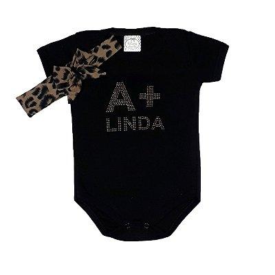Body Bebê Preto  A + Linda Com Faixa Onça