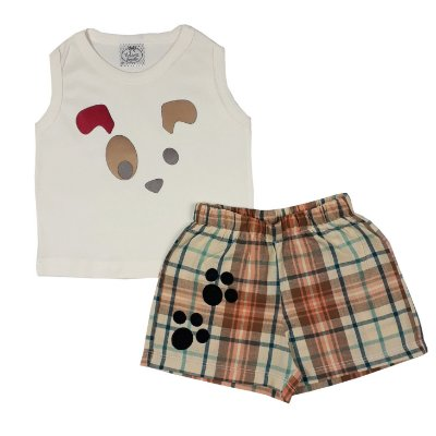 Conjunto Bebê Dog + Shorts Xadrez
