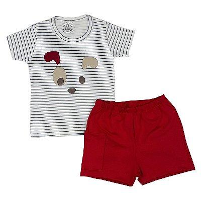 Conjunto Bebê Dog + Shorts Vermelho