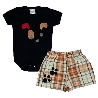 Conjunto Bebê Body Dog + Shorts Xadrez
