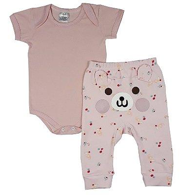 Conjunto Bebê Body Rosa + Calça Estampada Cachorro