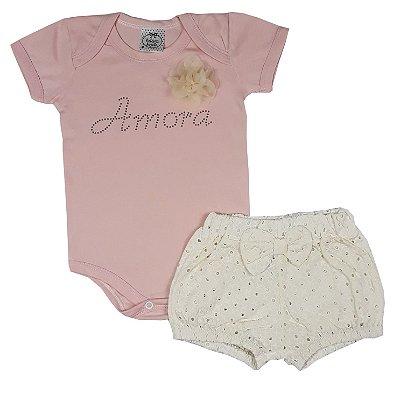 Conjunto Bebê Bodye Amora + Shorts Lesie