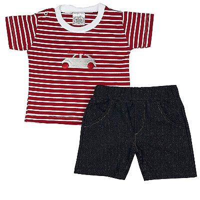 Conjunto Bebê Fusca + Bermuda Jeans