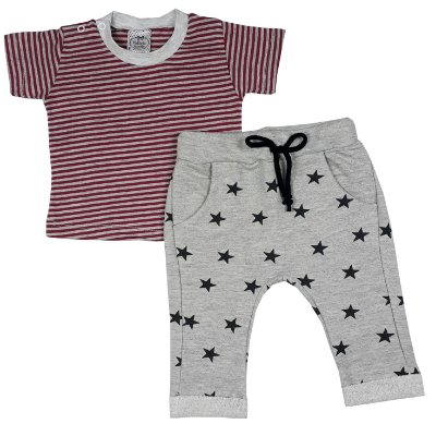 Conjunto Bebê Camiseta Listras + Calça Estrelas