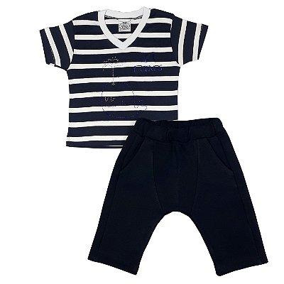 Conjunto Infantil Camiseta Listrada + Bermuda Saruel