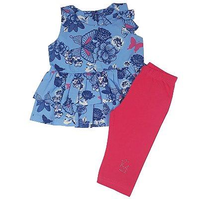 Conjunto Infantil Bata Estampada + Legging Rosa