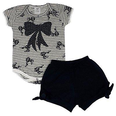 Conjunto Bebê Body Laço + Shorts Preto