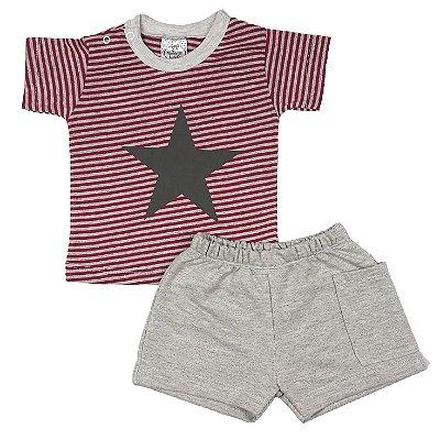 Conjunto Bebê Camiseta Listrada Estrela + Shorts