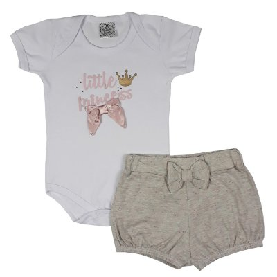 Conjunto Bebê Body Little Princess + Shorts