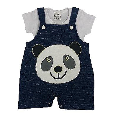 Jardineira Bebê Panda Azul + Camiseta Básica