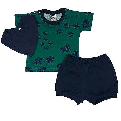 Conjunto Bebê Camiseta Patas + Shorts + Bandana