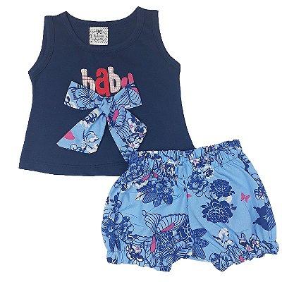 Conjunto Bebê Baby Laços + Shorts Floral