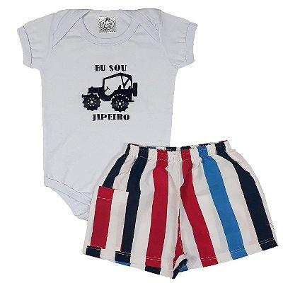 Conjunto Bebê Body Sou Jipeiro + Shorts Tactel
