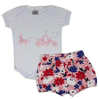 Conjunto Bebê Body + Shorts Floral