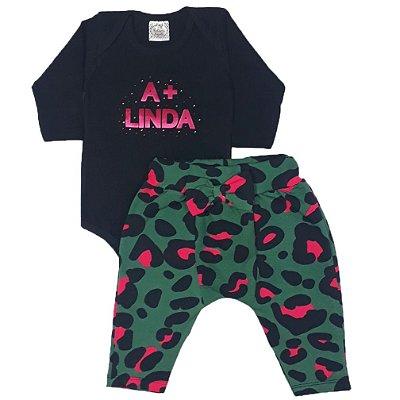 Conjunto Bebê A + Linda Com Calça Saruel