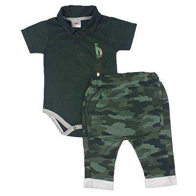 Conjunto Bebê Body Polo + Calça Saruel Militar