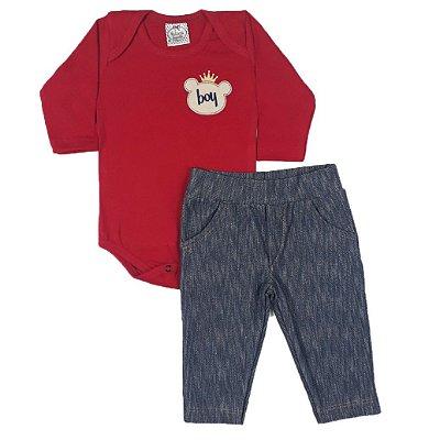 Conjunto Bebê Urso Baby + Calça Jeans