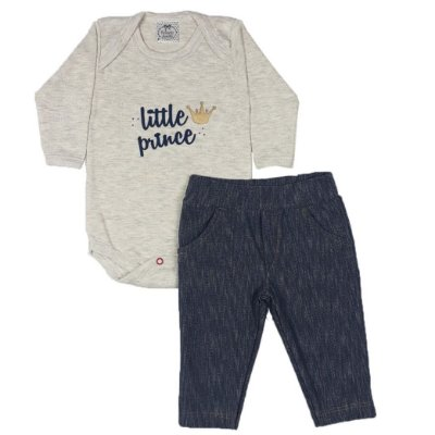 Conjunto Bebê Body Little Prince + Calça Jeans
