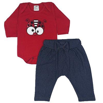 Conjunto Bebê Body Joaninha + Calça Saruel Jeans