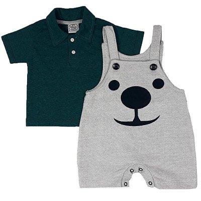 Jardineira Bebê Panda + Gola Polo Verde