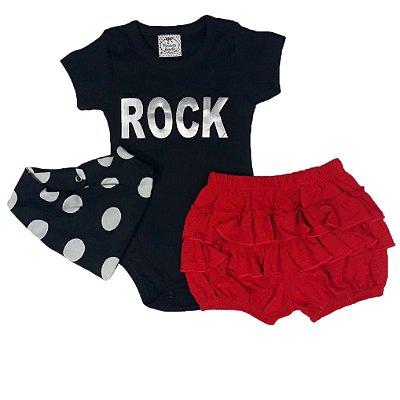 Conjunto Bebê Rock 3 Peças