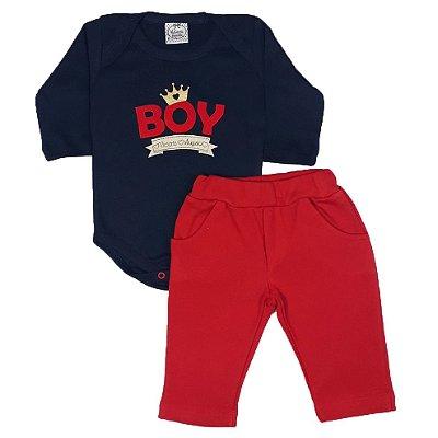 Conjunto Bebê Body Boy + Calça Vermelha