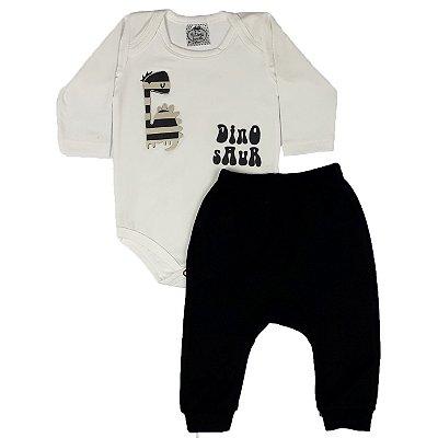 Conjunto Bebê Body Dino + Calça Saruel Preta