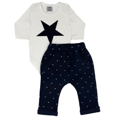 Conjunto Bebê Body Estrela + Calça Saruel