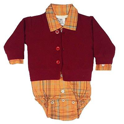 Conjunto Bebê Body Tecido + Casaco De Plush Vermelho