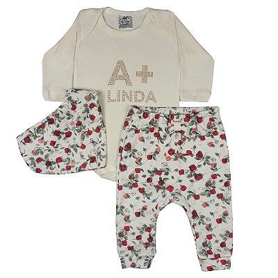 Conjunto Bebê Body A + Linda + Calça FLores + Bandana
