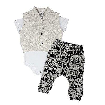 Conjunto Bebê Colete Com Body E Calça