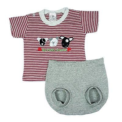 Conjunto Bebê Camiseta Listrada + Tapa Fralda