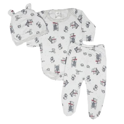 Conjunto Bebê 3 Peças Com Touca