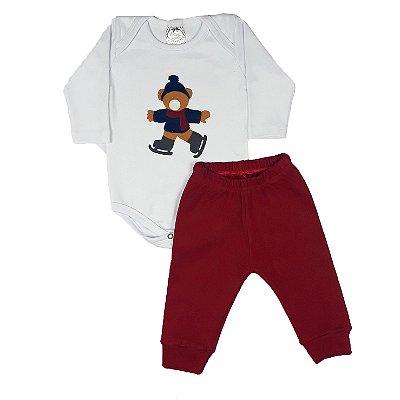 Conjunto Bebê Body Urso + Calça Vermelha