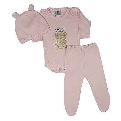 Conjunto Bebê 3 Peças Rosa