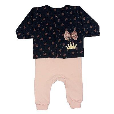 Conjunto Bebê Casaco Coração + Calça
