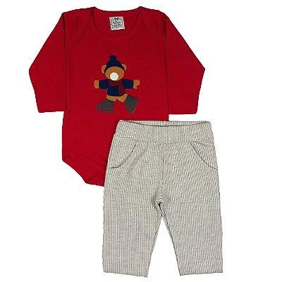Conjunto Bebê Urso Vermelho + Calça