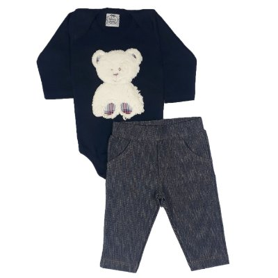 Conjunto Bebê Body Urso + Calça Jeans