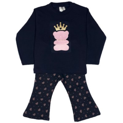 Conjunto Infantil Urso Rosa + Calça Flare