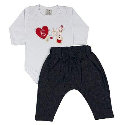 Conjunto Bebê Baby Coração + Calça Saruel