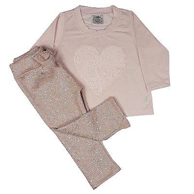 Conjunto Infantil Camiseta Coração + Legging Rosa