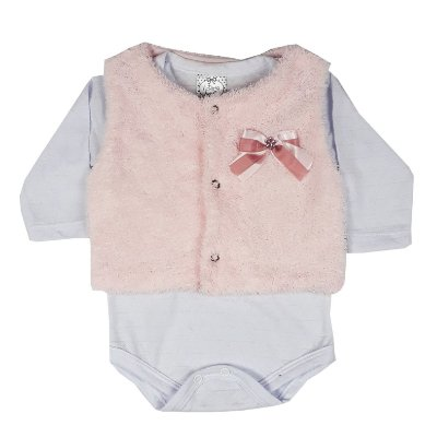 Conjunto Bebê Colete Pelo + Body Branco