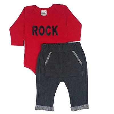 Conjunto Bebê Body Rock Vermelho + Calça Saruel Jeans