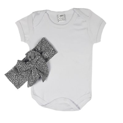 Body Bebê Branco + Turbante Onça Cinza