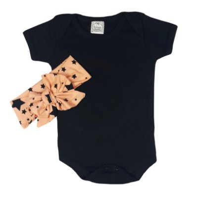 Body Bebê Preto + Turbante