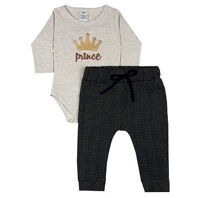Conjunto Bebê Body Prince + Calça Xadrez Verde