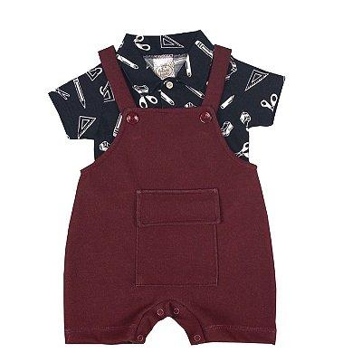 Jardineira Bebê Com Body Polo