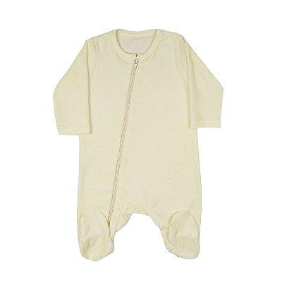 Macacão Bebê De Plush Com Zíper Amarelo