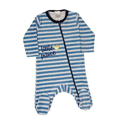 Macacão Bebê De Plush Com Zíper Listrado
